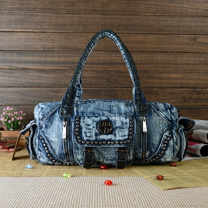 New Fashion Blue Unisex Women Men Girls Big Side Packet Cotton Jeans Totes Casual Travel Bags Duffle Cross Body bolsa feminina