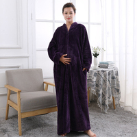 maternity sleepwear pregnant pajamas robe nursing nightgown Winter warm flannel sleepwear nightwear pregnant bathrobes woman