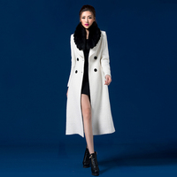 2016 Autumn And Winter Fashion Double Breasted Woolen Jacket Coat Medium Long Female Wool Overcoat Fox