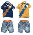 Бесплатная доставка новый горячая распродажа Высокое качество дети устанавливают мальчиков подходит короткий T + короткие брюки детей комплектов одежды