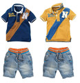 Free Shipping New Hot Selling Top Quality Children Sets Baby Boys Suits Short T-shirt + Short Pants Kids Clothing Sets