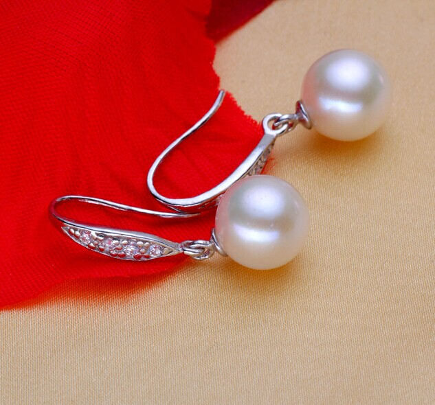 925 silver real natural 8 9MM big Freshwater pearl earring classic atmosphere gift for mother's day send my mother