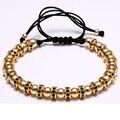 Rolhas de zircão homens pulseira pulseiras de ouro 24 k chapeado 6mm micro pave cz beads macrame trança homens pulseiras de presente dos namorados