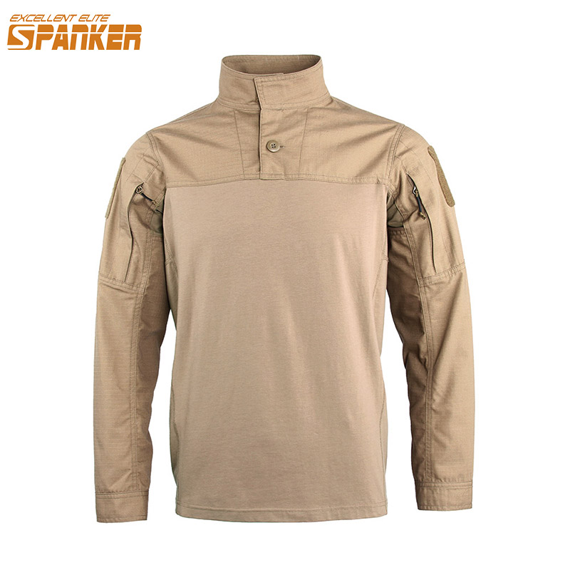 EXCELLENT ELITE SPANKER Outdoor Men's Long Sleeve T-Shirt Military Cotton T-Shirt Hunting Camo Assault Tactics Long sleeve voile panel stripe long sleeve t shirt