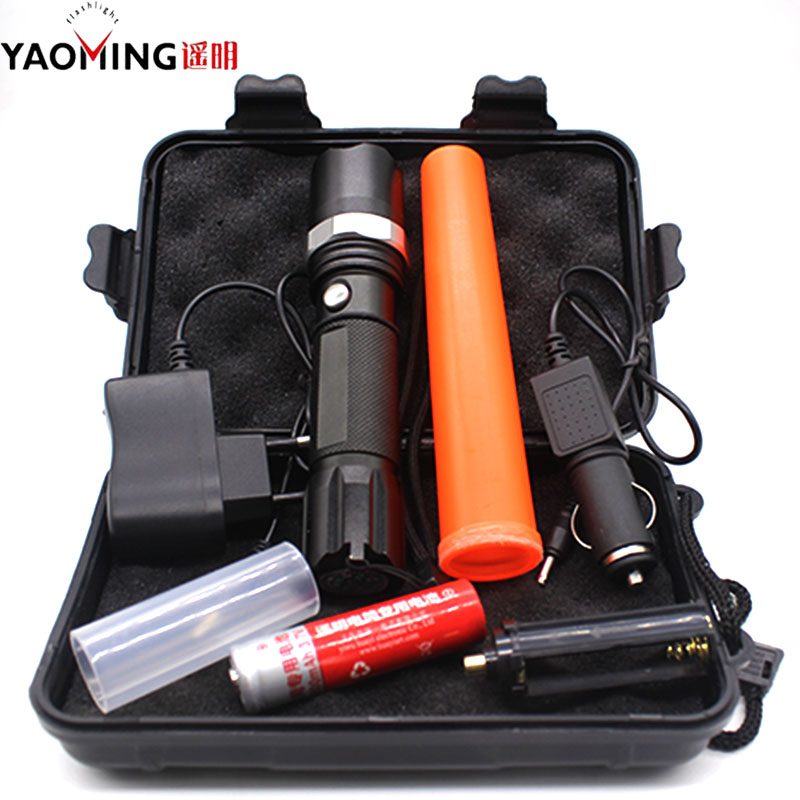 Led Flashlight Tactical CREE Q5 2000LM Led Lamp Light Torch Rechargeable Traffic Wand 18650 battery charger Police Flashlight 3t6 led flashlight cree xml 5mode lamp waterproof lanterna tactical denfense torch with rechargeable 3x18650 battery and charger