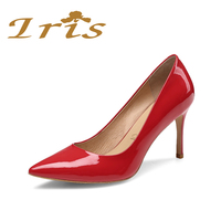 IRIS Genuine Leather Shoes Women Round Head Pumps Middle Heels Patent Leather Comfortable Pump Black Office