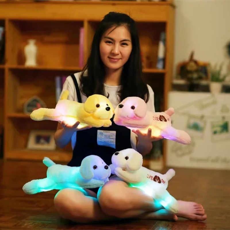Sıcak 35 cm Aydınlık Köpek Peluş Bebek Renkli led ışık Parlayan Köpekler Çocuklar Oyuncak Çocuk Kız Hediye Kawaii Dolması Hayvan ev dekor