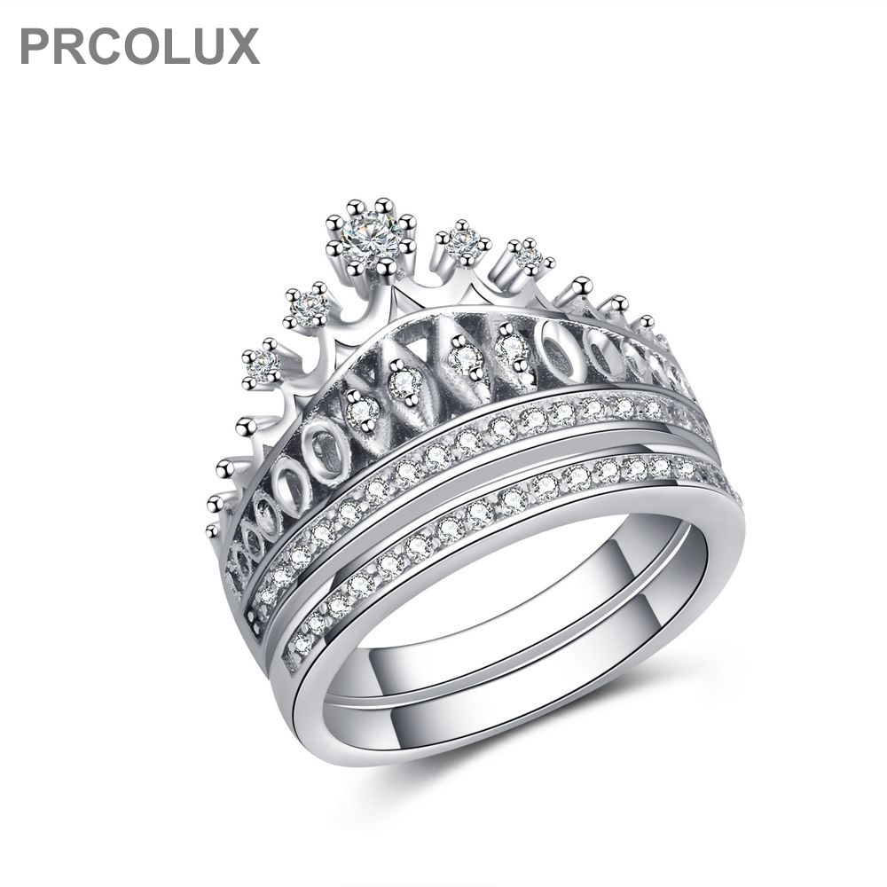 Prcolux Band Vintage Female Crown Ring Set 925 Sterling Silver Jewelry  White Cz Wedding Engagement Rings For Women Gifts Qfa54