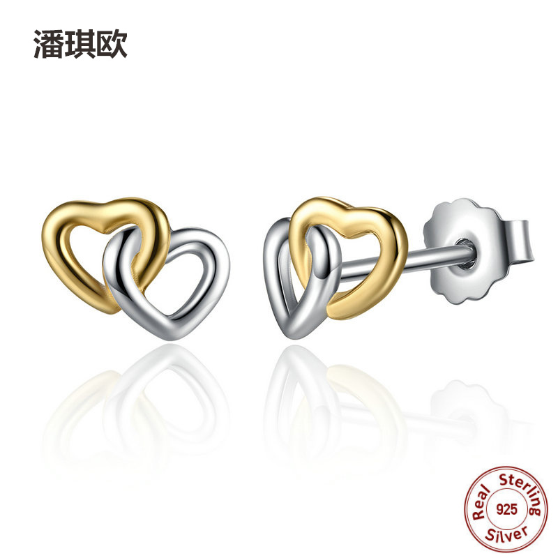 New Europe Retro 925 Sterling Silver Mini Gold Heart to Heart Small Stud Earrings For Women Compatible with pan jewelery