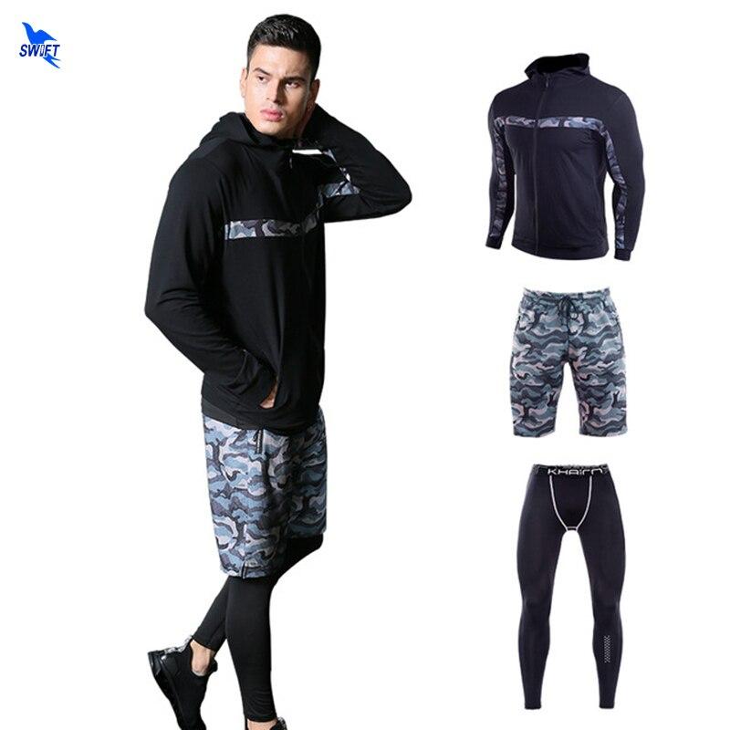 Nouveau hommes Sport costume Slim Fit sweat + short + Leggings 3 pièces ensembles de course Gym Fitness Jogging survêtement printemps hiver Sportswear