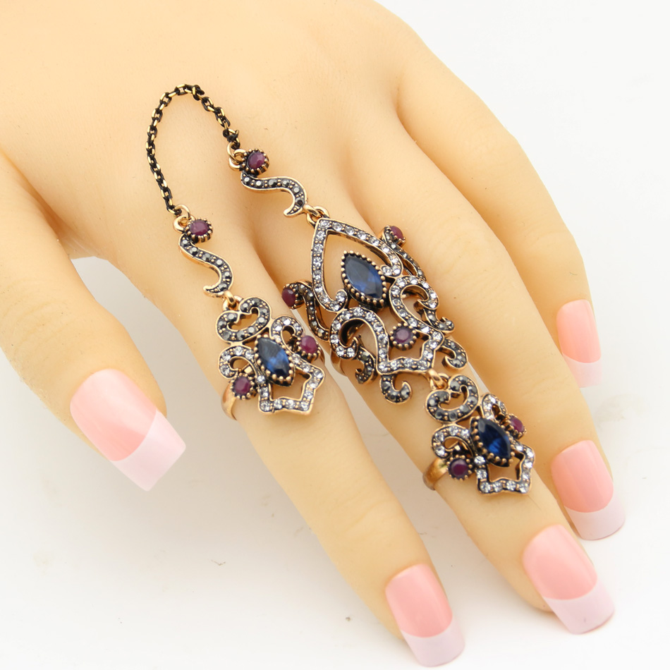 SUNSPICE MS Vintage Turkey Women Flower Double Link Ring Set - Perhiasan fesyen - Foto 4