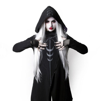 Women Hoodie Goth Asymmetrical Pullover Mid Length