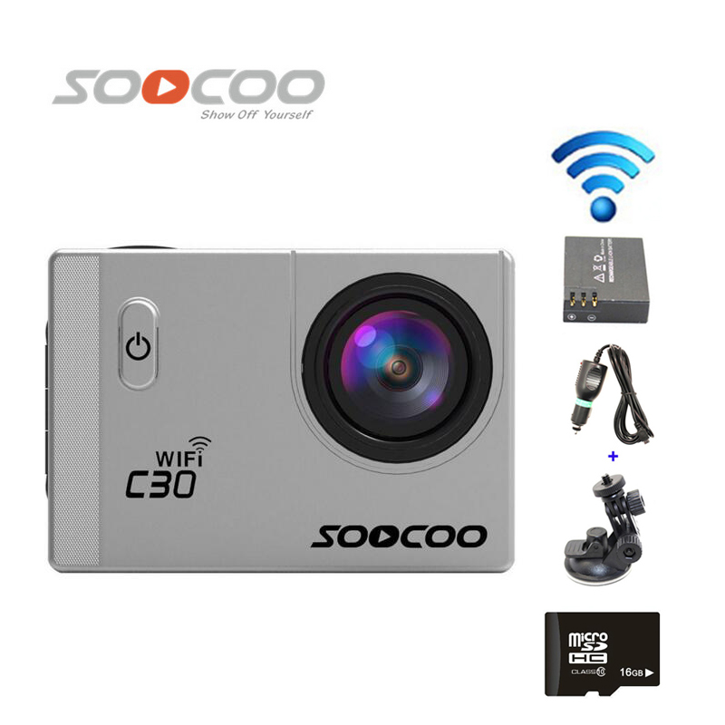 Free Shipping!!16GB SOOCOO C30 WiFi Ultra HD 2K 30fps Full HD 1080P Mini Sports Camera+Extra 1pcs battery+Car Charger+Holder original gitup git2 standard packing 2k wifi sports camera full hd for sony imx206 16mp sensor extra 1pcs battery dual charger