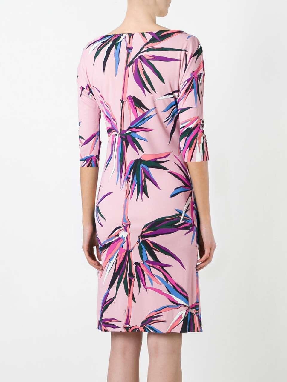 Nowy mody 2017 lato projektant luksusowe kobiety jest Slach szyi geometryczne druku 3/4 z długim rękawem Plus rozmiar XXL Stretch Jersey sukienka jedwabna w Suknie od Odzież damska na  Grupa 2