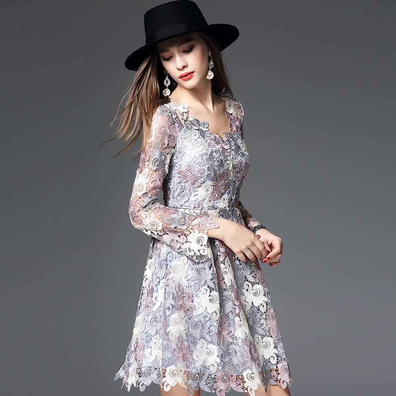 High Quality Lavender Elegant Lace Dress Women Long Sleeve V-neck Patchwork Female Crochet Dress Evening Party Princess Dresses