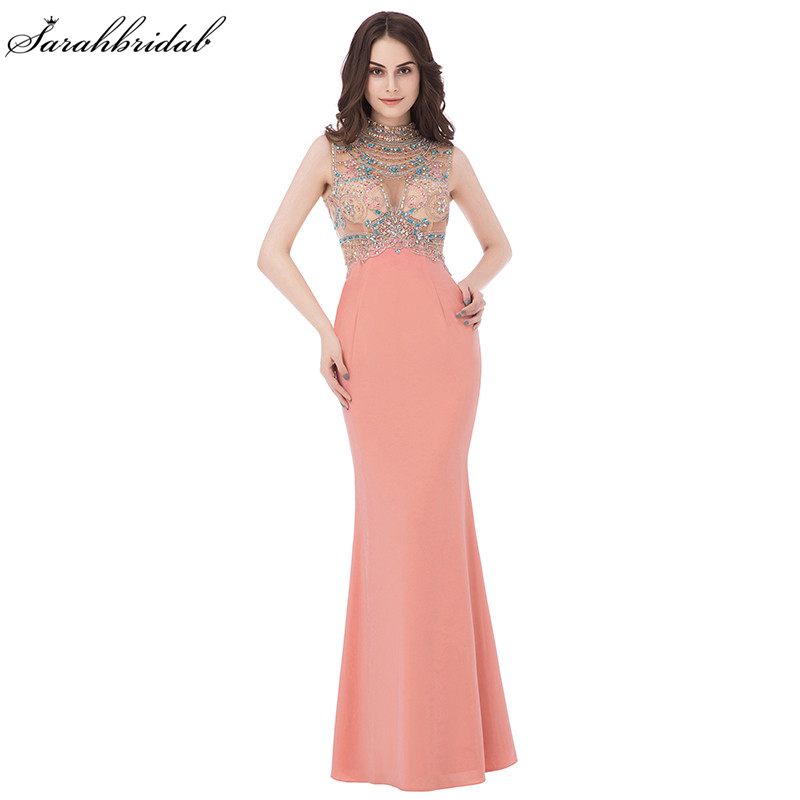 Sexy Sparkle Coral Long   Evening     Dresses   Mermaid High Collar Jersey Zipper Sleeveless Sequins Crystal Robe De Soiree LSX291