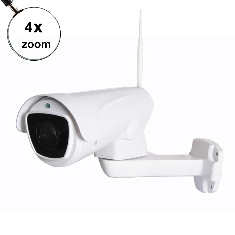 купить Wireless HD 1080P Bullet Wifi PTZ IP Camera 4X Zoom Auto Focus 2.8-12mm 2MP Outdoor IR ptz bullet camera support 128G SD card по цене 6410.09 рублей
