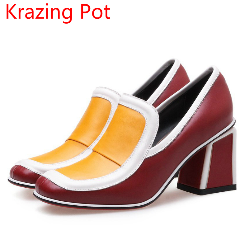 New Arrival Genuine Leather Mixed Colors Vintage High Heels Slip on Women Pumps Party Square Toe Office Lady Handmade Shoes L03 black rose ornament bracelet ring for halloween costume party black 5pcs
