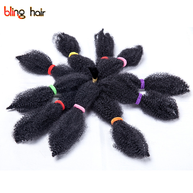 Bling Hair Synthetic Afro Kinky Curly Twist Crochet Braiding Hair Extensions and Weaving 10inches Kanekalon Braids Hair