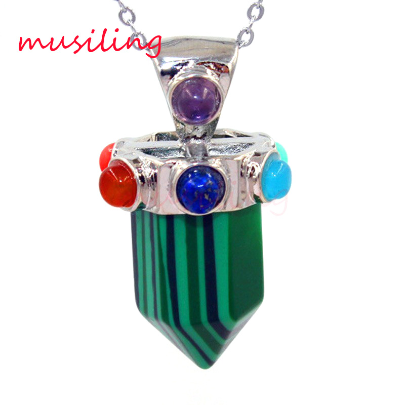 Pendants Pendulum 7 Chakra Beads Natural Stone Short Hexagon Prism Silver Plated Reiki Charms Healing Amulet Jewelry 10pcs in Pendants from Jewelry Accessories