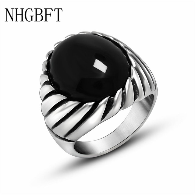 16c27ef06 NHGBFT High quality Stainless steel Onyx Rings Men Black Artificial Onyx  ring wedding Jewelry Dropshipping