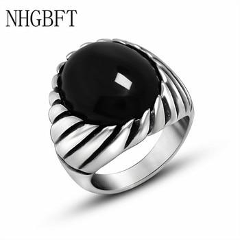 7fe21b21dd82 NHGBFT de alta calidad de acero inoxidable anillos de ónix negro de los  hombres Artificial anillo de ónix joyería de la boda de Dropshipping.  exclusivo.