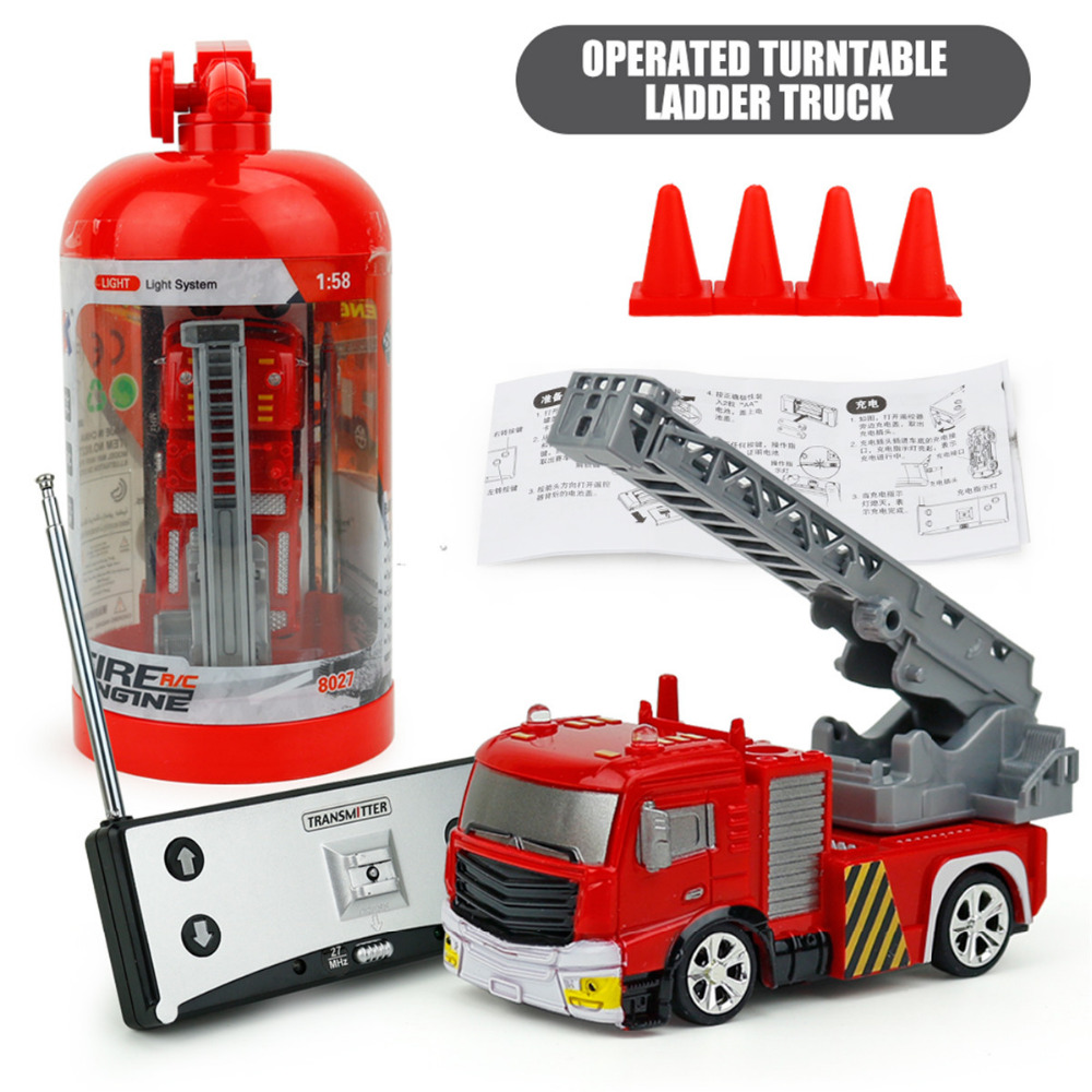 Mini Model Truck Diecast Fire Trucks Toy with Light 1:58 Remote Control RC Water-Tank Cars Funnny Model Toys for Children Boys