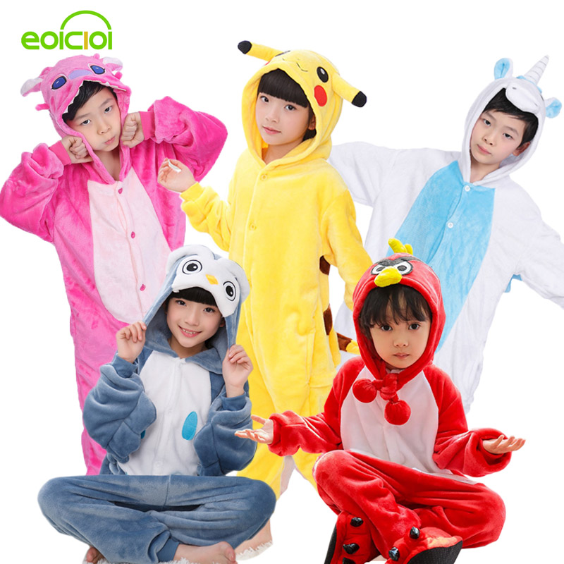 Girls Pajamas warm Autumn Winter Children's pajamas Flannel Animal Tigers Unicorn Pikachu cartoon pajamas for Kids boy Sleepwear низ от купальника pcliva norm bottom flow