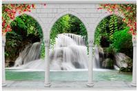 High End Custom 3d Wallpaper Murals Beautiful Roman Column Arches Waterfall Landscape 3d Background Wall Paper