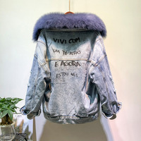 2019 New Spring real fur collar demin female Overcoat All Match plus velvet personality back letters real fur demin jacket