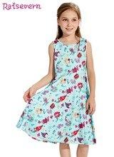 a1481367d80 Русалка Starfish морской рыбы мультфильм печати Костюмы Летнее платье для  маленьких девочек Для детей голубое платье