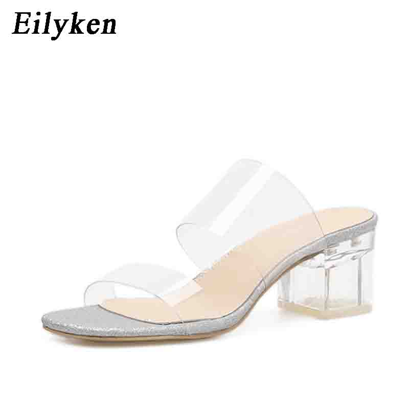 e668d8e2854 US $17.0 26% OFF|Eilyken 2019 New PVC Jelly Slippers Sandals Open Toe  Square heel Women Transparent Perspex Slippers Shoes Heel Clear silver-in  ...