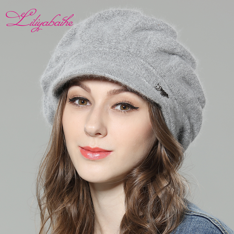 Us 15 72 46 Off Liliyabaihe New Style Women Winter Hat Brim Hat Knitted Wool Angora Hat Loose And Comfortable Cap Double Warm Hat In Women S Berets