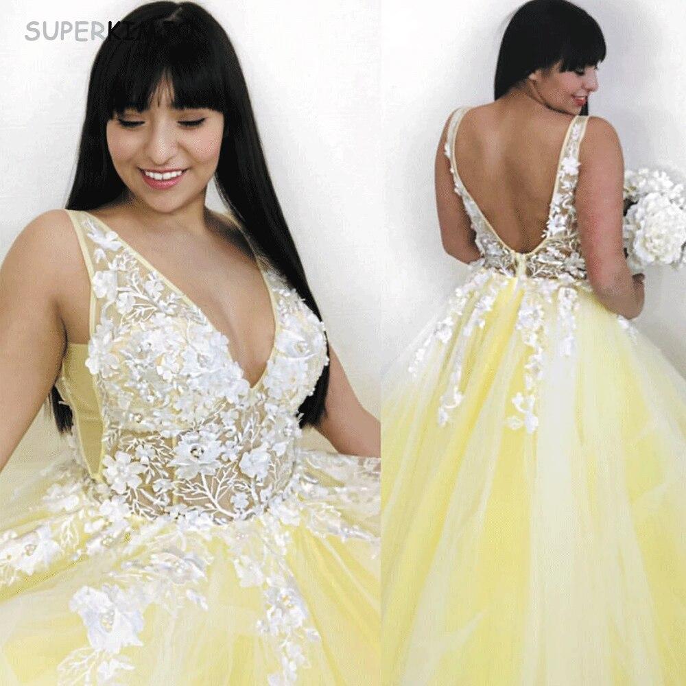SuperKimJo grande taille robes De bal 2019 Jaune Dentelle Applique 3D Fleurs V Cou Enceintes De Bal robe De Bal Robe De Gala