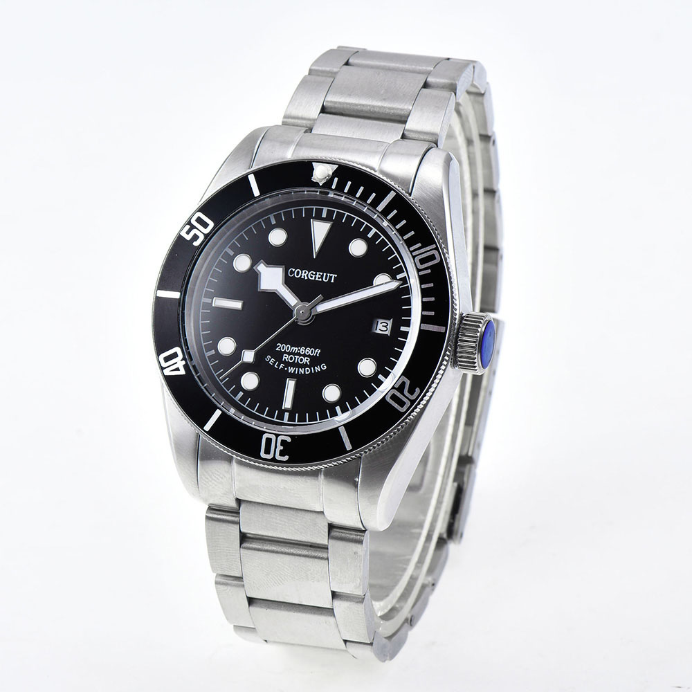 New Corgeut  41MM  Luminous Sapphire glass Black dial stainless steel strip Japan Miyota Automatic water resistant  mens Watches 41 mm corgeut sterial black dial red bezel sapphire glass luminous wrist watch japan miyota automatic mens water resistant watch