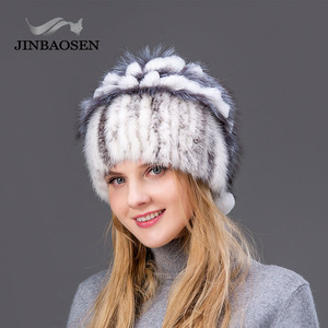 Image 5 - Woman winter Russian fur fashion real fur hat mink fur rabbit natural fox knit wool ski hat warm ear protection travel hat
