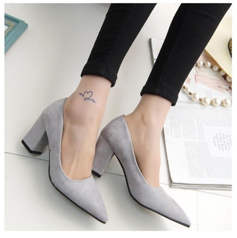 0812306f4da2 Women s 7.5 cm Block Heel Sexy Pointed Toe Woman Pumps Summer Spring EUR 34  -39 Wedding Office Lady