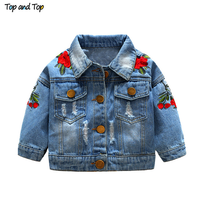 Top and Top children jackets Kids Girls Embroidery Coats Jackets Long Sleeve Girls Clothing Outerwear Coats Jackets flower