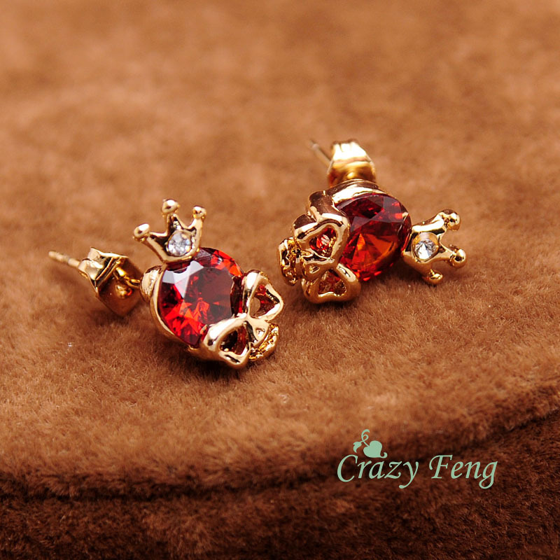 Steampunk Gold Color Skull Earrings Fashion CZ Crystal Stud Earrings for Women girl Small Jewelry brincos valentines day gift