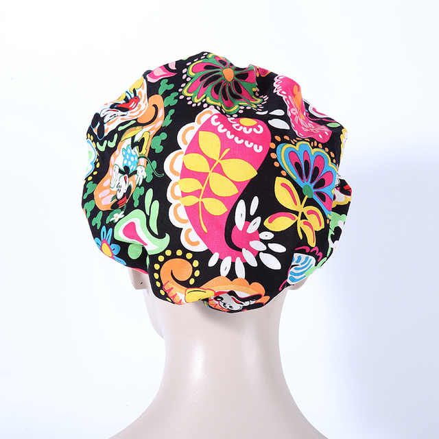 new print purple surgical caps women doctor and nurse long hair 100% cotton one size adjustable working cap 004