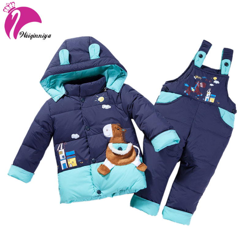 weiqinniya Boys Down Parkas Jacket Set Winter 2018 Kids Cartoon Down Tracksuit For Boys Children Hooded Parka Bib Sets For Girls