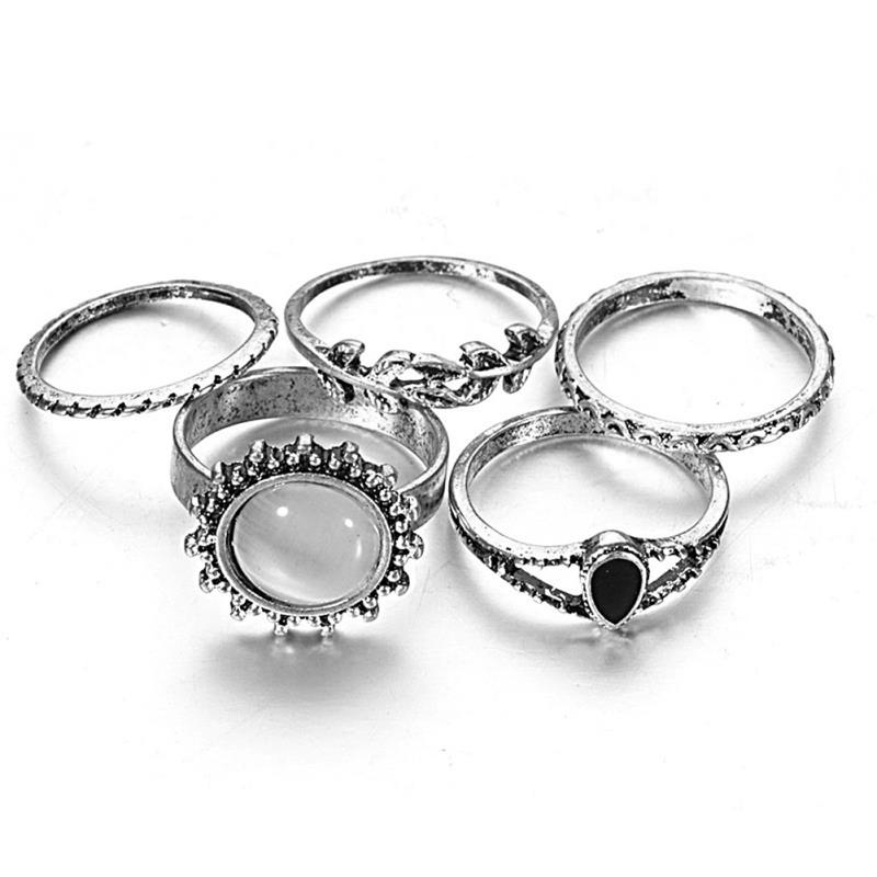 5pcs/set Turkish Antique Silver Leaf Shape Ring set Retro ...
