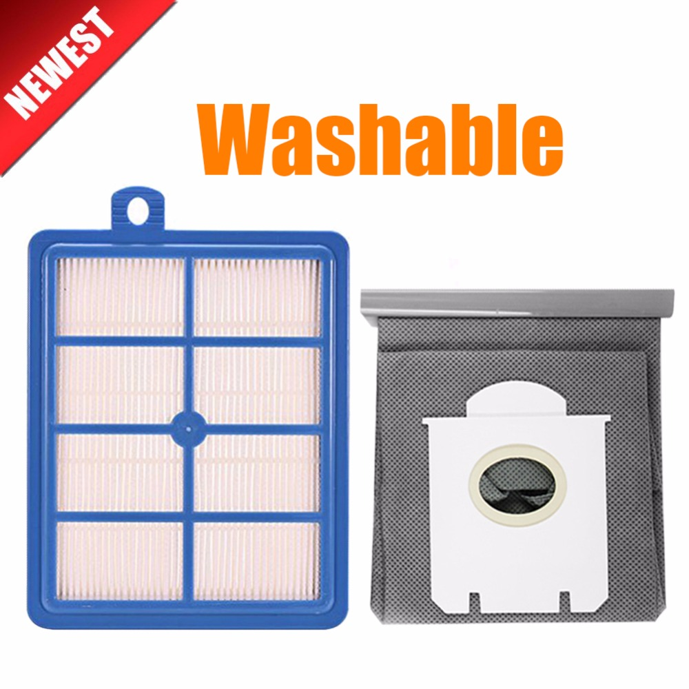 Washable 1pcs H12 H13 Dust Hepa Filter + 1pcs High Quality Vacuum Cleaner Bags Dust Bag Fit For Philips Electrolux