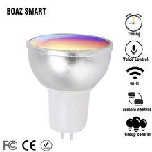 RGBW WiFi Smart LED Bulb Work with Alexa Google Home(RGBW GU5.3) ,Voice control and color changing spotlight,5 Watt Spotlight