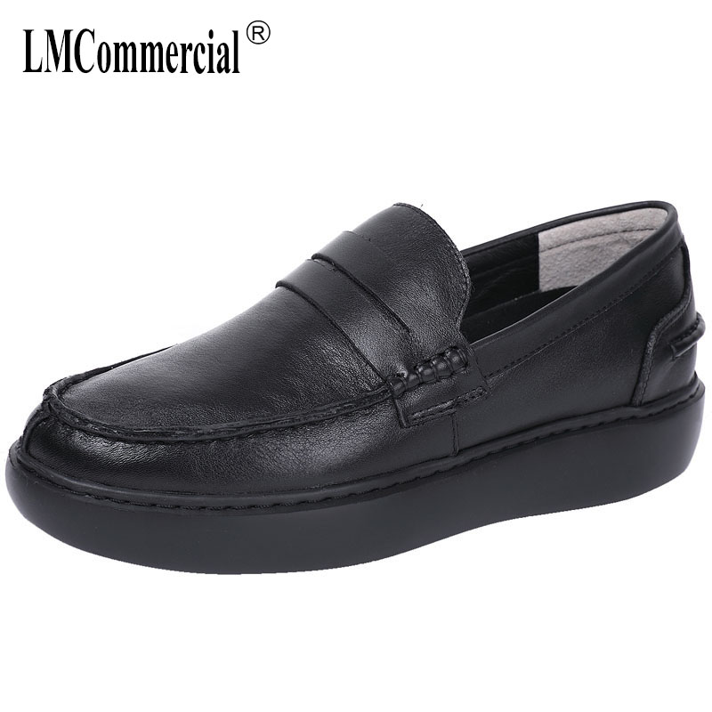 British fashion casual shoes men soft thick bottom designer shoes men high quality mens loafers Genuine Leather autumn winter
