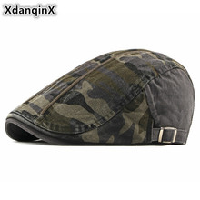 XdanqinX 100% Cotton Camouflage Beret For Men And Women Spring Autumn Washed Cloth Tongue Cap Adjustable Size Jungle Fishing Hat