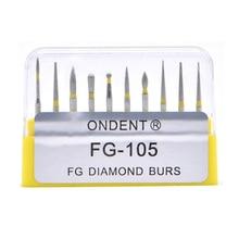 Broca dentária de diamante, broca dentária de alta velocidade para uso manual médio fg105 106, laboratório de odontologia