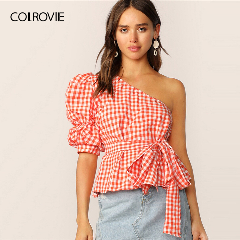 COLROVIE Orange One Shoulder Gathered Sleeve Gingham Belted Top Women 2019 Summer Sexy Puff Sleeve Clothes Asymmetrical Blouse