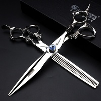 Sawtooth Barber Hairdresser Hair Scissors professional 7 inch 6.0 stainless steel cutting cliper thinning haircutting scissors