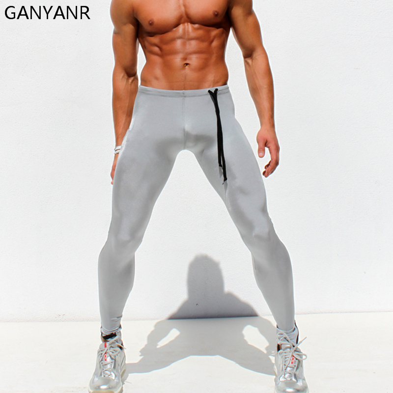 GANYANR Brand Running Tights Men Sports Pants Yoga Leggings Compression Athletic Workout Quick Dry Spandex Trousers Winter Long
